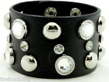 Hip Hop Urban Fashion Black Leather Bracelet Silver Rivet Studs & Crystal Bling