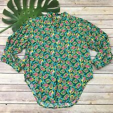 Esprit Vintage Women's Hawaiian Shirt Size S Teal Leaves Tropical Ukulele Player