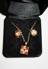 Citrine yellow  Taupe color crystal Necklace & earring  emerald cut Set
