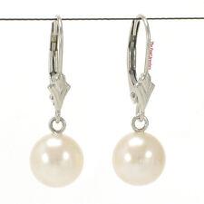 14k White Gold Leverback; Genuine AAA White Cultured Pearl Dangle Earrings