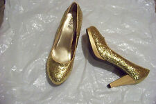 womens rialto gold glitter platform heels shoes size 9 1/2