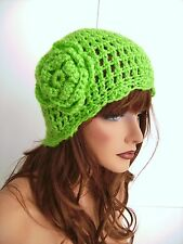 NEW CROCHET LIME GREEN FLOWER BEANIE CAP HAT HAND CROCHET BERET SKULL CAP CLOCHE