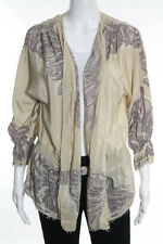Yoana Baraschi Beige Paisley Long Sleeve V Neck Sheer Silk Blouse Size Large