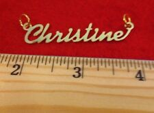 "14KT GOLD EP ""CHRISTINE"" PERSONALIZED NAME PLATE WORD CHARM PENDANT 6084"