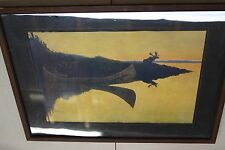 """Vintage FREDERIC REMINGTON  MOOSE """"COMING TO THE CALL"""" - Early Framed & Matted"""