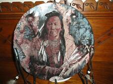 Hand Painted Native American Indian with Wolf DREAM CATCHER Velvet w Feathers