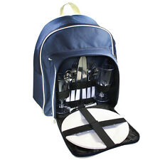 Insulated Picnic Basket Set - Picnic Backpack Cooler Tote w/ 2 Place Setting