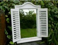 French Shabby Chic Antique Vintage Style White Wall Shutter Window Mirror Wooden