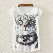 New Vintage Fashion Summer Women Short Sleeve Cat Print T Shirt Tops Tee Blouses