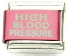 High Blood Pressure Medical Alert Link F/ 9mm Italian Charm Bracelets Pink-Red