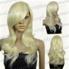 62cm Light Golden Blonde Heat Styleable Layers Drag Bangs Cosplay Wigs 66_LGB