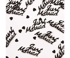 3 x BLACK JUST MARRIED 14g FOIL CONFETTI TABLE SCATTER  DECORATIONS (PA)