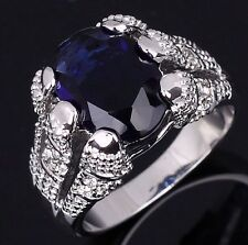 Band Size 9 Costly Blue Topaz 18K Gold Filled Wedding Engagement Ring For Mens