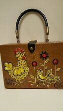 VINTAGE ENID COLLINS SUPER RARE WOOD BOX BAG  CALICO CHICKS EARLY 1960'S