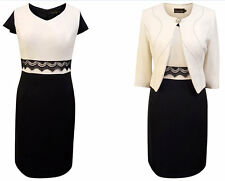 NAVY IVORY MOTHER OF THE BRIDE GROOM OUTFIT FORMAL 2 PIECE JACKET DRESS SIZE 12