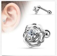 Surgical Steel Ear Cartilage Tragus Barbell Stud with CZ Centered Flower 16g