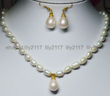 """Charm !7-9mm White Akoya Pearl + pink Shell Pearl Pendant Necklace 18"""" Earrings"""