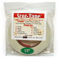 "Scor-Tape Double Sided Adhesive Acid Free Heat Resistant 1/2"" x 27 yds New Roll"