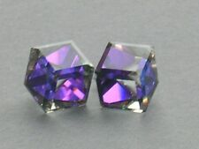 10mm Heliotrope 3/4 Cube Stud Earrings made with Swarovski Crystal Elements