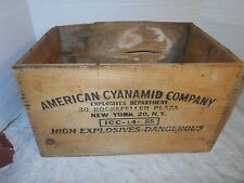 VINTAGE COLLECTIBLE EXPLOSIVE AMERICAN CYANAMID COMPANY WOODEN CRATE BOX EMPTY