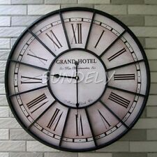 LARGE OUTDOOR GARDEN WALL CLOCK BIG ROMAN NUMERALS GIANT OPEN FACE METAL 60CM