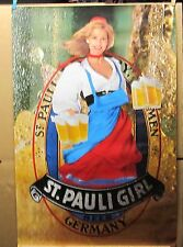 VINTAGE ST. PAULI GIRL GERMANY BEER POSTER 1984
