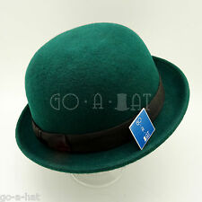 Fashion Men Women Soft Wool Felt Bowler Ribbon Derby Feodra Top Hat Unisex Green