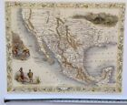 Antique vintage colour map 1800s: Mexico, California: Tallis 13 X 9