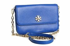 ❗️ NEW $275 Tory Burch MERCER Classic Leather Crossbody Clutch in Blue Authentic