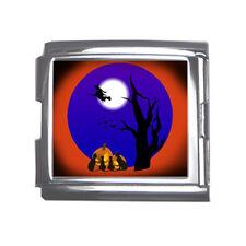 New Halloween Witch Black Cat Full Moon Pumpkin Mega Link Italian Charm 18mm
