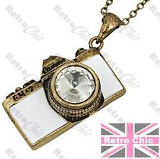 RETRO CAMERA pendant NECKLACE old fm2 VINTAGE BRASS long chain white enamel