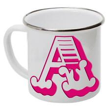 Letter Initial Outdoor Enamel Mug Camping Cup Tin Metal Gift *All Letters* Pink