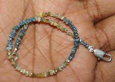 """8.0cts Natural Yellow & Blue Rough Raw Diamond Beads 6.5"""" Bracelet 925 Silver 11"""