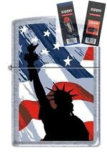 Zippo 2277 statue of liberty flag Lighter with *FLINT & WICK GIFT SET*