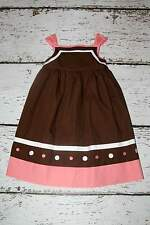 EUC Janie and Jack Ice Cream Social Pink Brown Stripe Dot Dress 5T