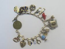 Vintage 1930s Gold 14K 18 Charms Bracelet Travel Book Chain 7-inch Enamel Paris