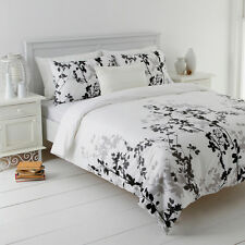 Mia Black Queen Size Quilt / Doona Cover Set In 2 Linen Covers  NEW Leaf Design
