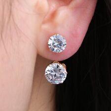 Lovely Double Gold Crystal Round Stud Earrings Hoop Elegant Women Girl Jewelry
