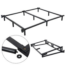Black Folding Heavy Duty Metal Bed Frame Center Support Bedroom King Size