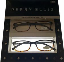 Perry Ellis  PE16-1 Tortoise Ombe Men Plastic Rectangle 2 Pack Reading Glass 2.0