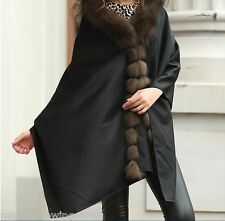 free shipping/XLReal Cashmere  Real  Fox Fur Cloak  poncho/Coat/Wraps/Cape/Black