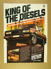 1982 Datsun King Cab Diesel Pickup black truck oil derricks art vintage print Ad