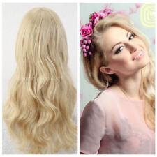 Long Curly Full Wig Heat Resistant Women Blonde Bangs Girl Cosplay Costume Hair