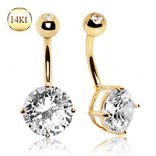 14K Solid GOLD Large Round CZ Gem BELLY BUTTON NAVEL Bar RINGS Piercing Jewelry
