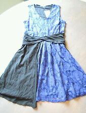 Anthropologie Leifnotes NWT dress floral blue lace partial black over skirt XS