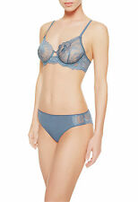 La Perla Begonia Collection 32D S Full Cup Bra Panty Set Sheer Lace Sky Blue New