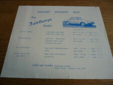 Fairthorpe Zeta, Electron em tres y Rockette lista de precios folleto Jm