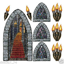 HALLOWEEN Medieval Party Wall Decoration STAIRWAY WINDOW TORCH Add On Props