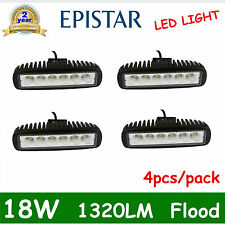 4pcs 6inch 18W LED Work Light Bar 4WD Flood Beam Offroad Driving Fog Lamp ATVSUV