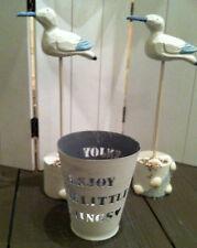 Teelichthalter,Windlicht Home Shabby Chic Metall weiß gewischt,Enjoy Schriftzug
